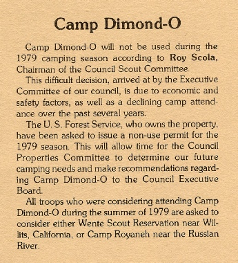 Article from January 1979 Bay Area Scouter announcing the closing of Dimond-O