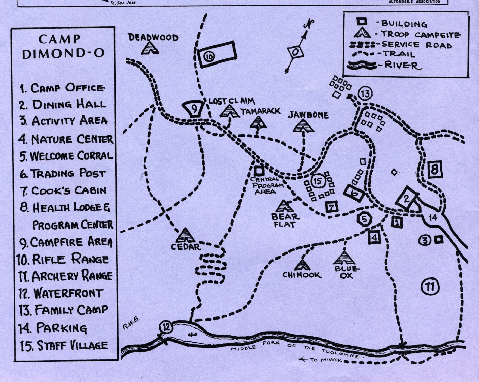 Dimond-O Camp Map, c 1974
