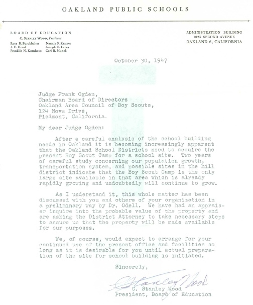 Letter from Oakland Schools to Boy Scouts, 1947