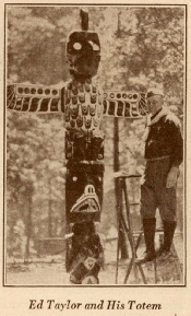 Ed Taylor creating one of the Dimond Totem Poles in 1929