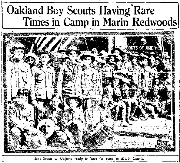 Photo from Oakland Tribune as Scouts head out to First training Camp, June 1917