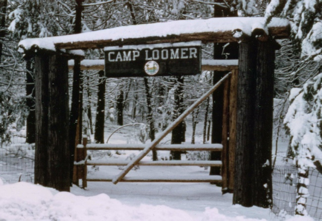 Driveway entrance to Camp Loomer from Blair road, c 1970