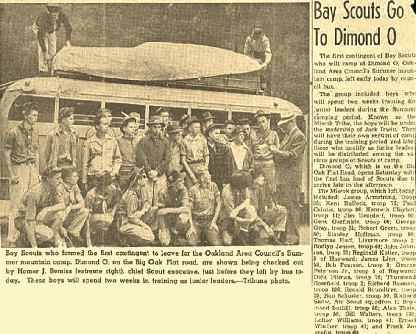MIWOK Scouts get set to leave from Oakland's Camp Dimond, c 1946.  In the picture is Ray Sutliff & Frank Zografos future leaders of the Oakland Council and Machek N'Gult Lodge