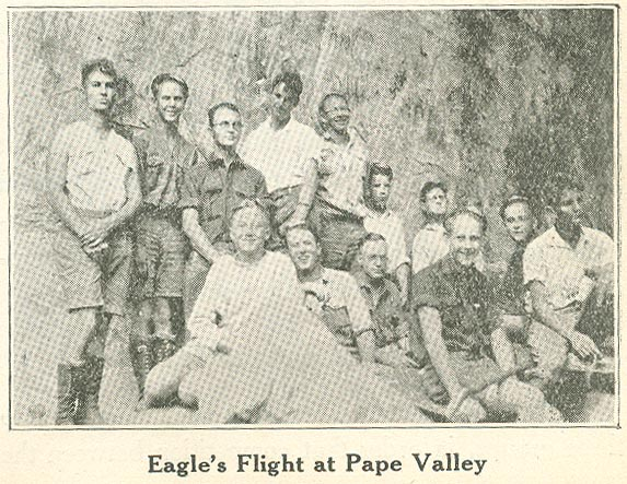 Members of the first Eagle's Flight in 1928 pose for a picture at Pate Valley near Yosemite