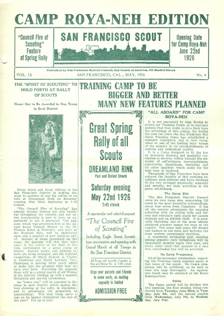 Special Edition of the San Franciso Scout newsletter regarding Camp Royaneh, 1926
