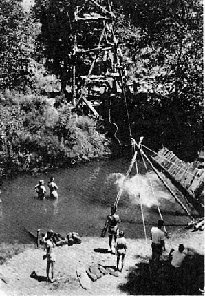Zip line across Russian Gulch creek, c 1966