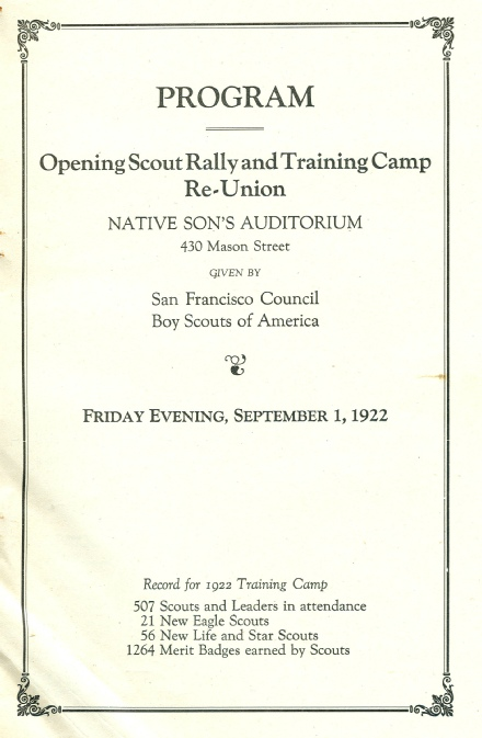 Training Camp Rally Program, 1922