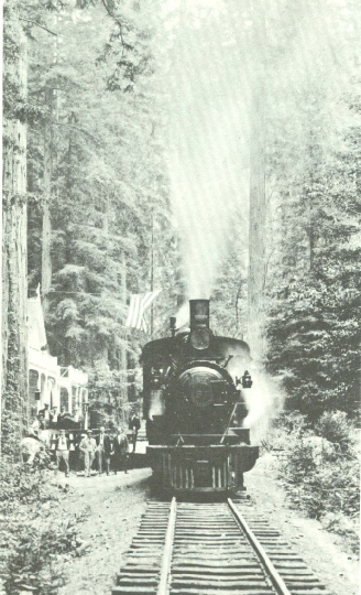 Northwestern Pacific train at Elim Grove dropping off passengers and Scouts, c 1920