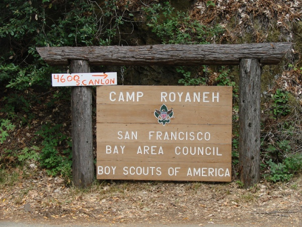 Entrance to Camp Royaneh from Cazadero Highway