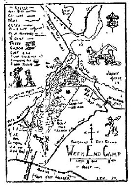 Oakland Weekend Training Camp map (c 1917) - Upper Dimond Canyon