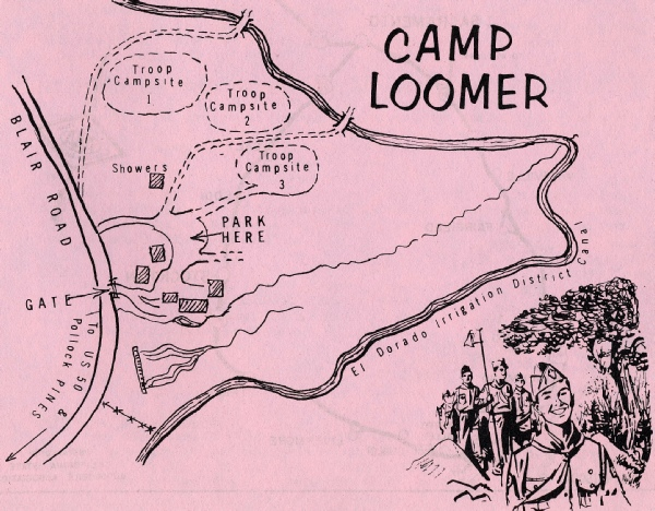 Map of Camp Loomer Campsites (c 1968)