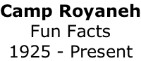 Camp Royaneh Fun Facts 1925 - Present