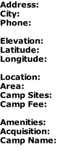 Address: City: Phone:  Elevation: Latitude: Longitude:  Location: Area: Camp Sites: Camp Fee:  Amenities: Acquisition: Camp Name: